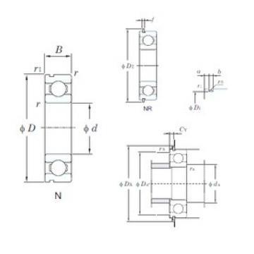 25 mm x 47 mm x 12 mm  KOYO 6005NR deep groove ball bearings